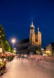 St. Mary`s Church on Main Square of the Old Town of Krakow Royalty Free Stock Photography