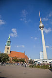 St. Mary s Church (Marienkirche) and the Berlin TV tower Stock Images