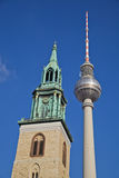 St. Mary s Church (Marienkirche) and the Berlin TV tower Stock Photos