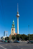 St. Mary's Church (Marienkirche) and the Berlin TV tower Stock Photography
