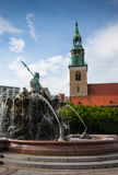 St Mary's church (Marienkirche) and the Neptune fountain Royalty Free Stock Photography