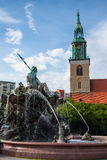 St Mary's church (Marienkirche) and the Neptune fountain Stock Photography