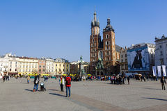 St. Mary's Church at Market Square of Krakow Stock Images
