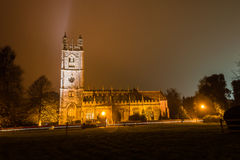 St. Mary's Church by night. ENGLAND, THORNBURY - 02 NOV 2015: St. Mary's Church by night stock photo