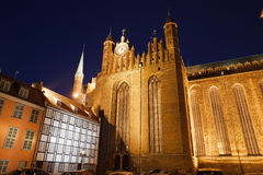 St. Mary's Church at Night in Gdansk Stock Image