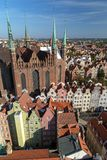 Old Town in Gdansk viewed from above. St. Mary`s Church and old residential buildings at the Main Town Old Town in Gdansk, Poland, viewed from above on a sunny Stock Photo