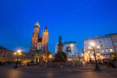 St. Mary's Church on Rynek Glowny (Market Square) in night time. Stock Images