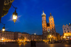 St. Mary's Church on Rynek Glowny (Market Square) in night time. Royalty Free Stock Photos
