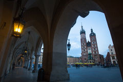 St. Mary's Church on Rynek Glowny (Market Square) in night time. Royalty Free Stock Photography