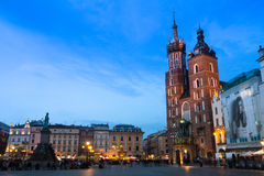 St. Mary's Church on Rynek Glowny (Market Square) in night time. Royalty Free Stock Image