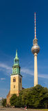 St. Mary's Church and TV tower in Berlin Royalty Free Stock Photos