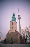 St. Mary`s Church and TV tower in Berlin Royalty Free Stock Photos