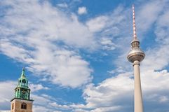 St. Mary's Church and TV tower in Berlin - Germany Royalty Free Stock Photography