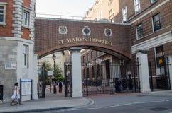 St Mary's Hospital, Paddington. LONDON, ENGLAND - JULY 19:  Pedestrians at the Praed Street Entrance to St Mary's Hospital, Paddington which is where Catherine Royalty Free Stock Photo