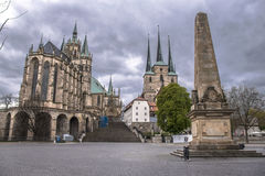 St Mary ` s Kathedraal en St Severus Church, Oude Stad in Erfurt, Duitsland Stock Fotografie