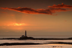 St Mary's Lighthouse. At sunrise stock image