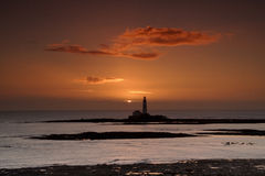 St Mary's Lighthouse. At sunrise stock photography