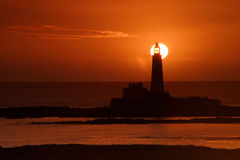 St Mary's Lighthouse. At sunrise royalty free stock image