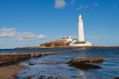 ST Mary`s Lighthouse Stock Photo