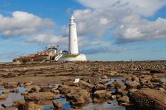 St Mary`s Lighthouse and causeway Royalty Free Stock Images