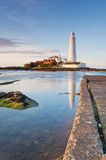 St Mary's Lighthouse at high Tide Royalty Free Stock Photo