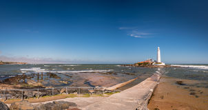 St Mary`s Lighthouse Panorama Royalty Free Stock Photos