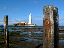 St Mary's Lighthouse and Rust. St Mary's Lighthouse on the coast of North Tyneside, North East England. It is connected to the Mainland by a tidal causeway Royalty Free Stock Photo