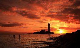 St Mary`s Lighthouse sunrise on a lovely morning stock photo
