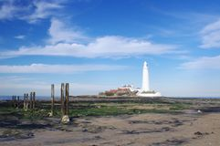 St Mary's Lighthouse with Wood Pillars Stock Image