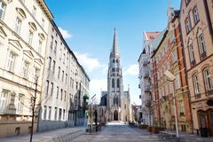 St. Mary`s street and church in Katowice, Silesia, Poland Royalty Free Stock Photos