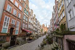 St. Mary`s Street in Gdansk. View of old buildings on the empty St. Mary`s Street ul. Mariacka and St. Mary`s Church at the Main Town Old Town in Gdansk, Poland Stock Photography