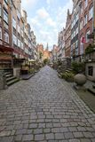 St. Mary`s Street in Gdansk. View of old buildings on the empty St. Mary`s Street ul. Mariacka and St. Mary`s Church at the Main Town Old Town in Gdansk, Poland Stock Image