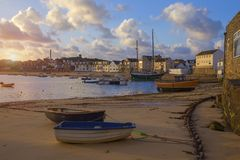 St Mary's Harbour at dawn, St Mary's, Isles of Scilly, England Stock Photography
