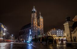 St Mary's Basilica (Kościół Mariacki) during Christmas, Krakow Poland Stock Image
