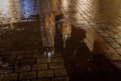 St Mary's Basilica (Kościół Mariacki) reflection in a puddle, Krakow, Poland Royalty Free Stock Photography
