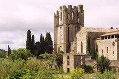 St Marys abby Lagrasse Frankrijk Stock Afbeeldingen