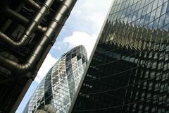 St marys axe city of london (gherkin) Stock Photos