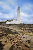 St marys de baai van vuurtorenwhitley Stock Fotografie