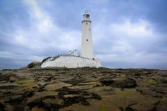 St marys de baai van vuurtorenwhitley Royalty-vrije Stock Foto