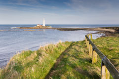 St Marys Lighthouse from cliff top Stock Images
