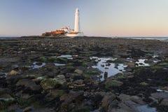 St Marys Lighthouse and Island at Whitley Bay, North Tyneside, England, UK. Royalty Free Stock Images