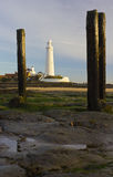 St Marys Lighthouse and Island at Whitley Bay, North Tyneside, England, UK. Royalty Free Stock Images