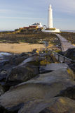 St Marys Lighthouse and Island at Whitley Bay, North Tyneside, England, UK. Royalty Free Stock Photo