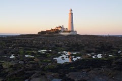 St Marys Lighthouse and Island at Whitley Bay, North Tyneside, England, UK. Stock Photography