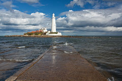 St marys lighthouse on the North East Coast Stock Image
