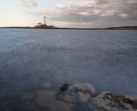 St Marys Lighthouse from Old Hartley. Royalty Free Stock Images