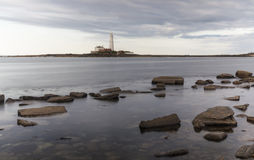 St Marys Lighthouse from Old Hartley. Royalty Free Stock Photos