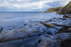 St Marys Lighthouse from Old Hartley. Royalty Free Stock Photo