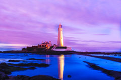 St.Marys Lighthouse in Pink Royalty Free Stock Image