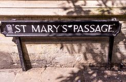 St. Marys Passage sign at Brasenose College . Oxford stock photos